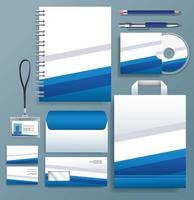uppsättning blå, vita stationära mallar på grå bakgrund