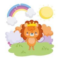 kleiner Löwe trägt eine Krone, die draußen steht
