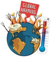 globale Erwärmung mit Entwaldung auf der Erde vektor