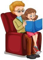 far och dotter läser en bok tillsammans vektor