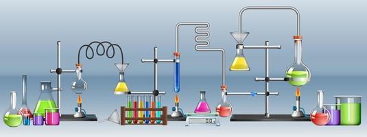 vetenskapligt laboratorium med många utrustningar vektor