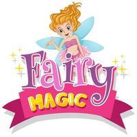 typografisk rosa design för word fairy magi med fairy flygning