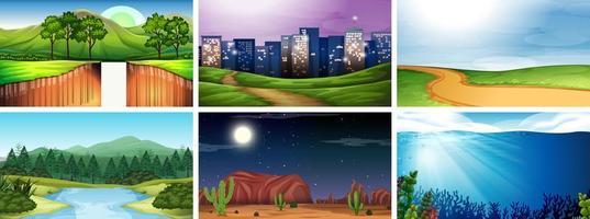 Tag und Nacht Naturszene eingestellt vektor