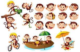 uppsättning söta apor med olika ansiktsuttryck