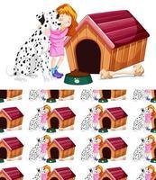nahtloses Hintergrunddesign mit Mädchen, das Hund umarmt vektor