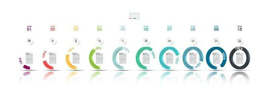10 Schritt Halbkreis moderne Business Infografik vektor