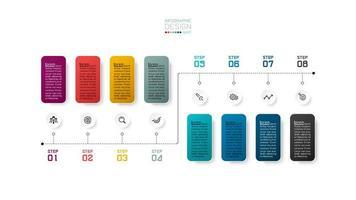 färgglada 8-stegs tidslinje för infographic