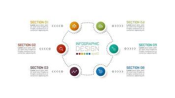 moderne Kreis 6 Abschnitt Business Infografik vektor