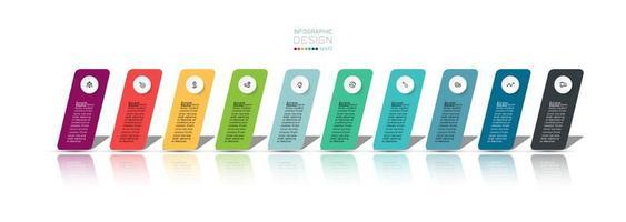 10 Schritt bunte Tabs Business Infografik vektor