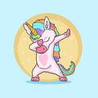 söt enhörning som gör cool dans