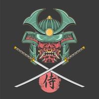 Samurai Shogun und gekreuztes Katan Design vektor