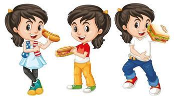 Kinder mit fröhlichem Gesicht essen vektor