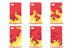 Firey Phone Case Mönster Vector Set