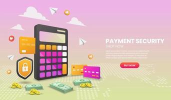 Vorlage für die Website für Zahlungssicherheit vektor