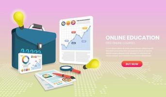Online-Website-Vorlage für Bildung mit Dokument und Aktentasche vektor