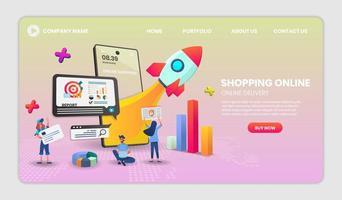 Mobile Online-Shop Startup-Website-Vorlage vektor