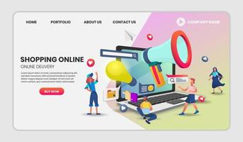 onlinebutikens webbplats för mall