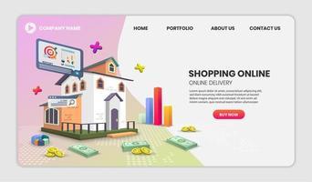 online shoppingtjänst och paketleverans webbplatsmall vektor