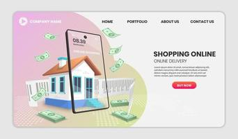 shoppa online och leverans till hus webbplats mall vektor