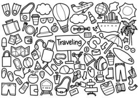 resande doodle uppsättning vektor