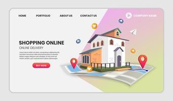 online-leverans och mall för fastighetswebbplats vektor