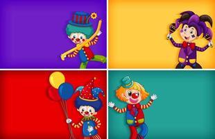 Hintergrundschablonenentwürfe mit Clowns