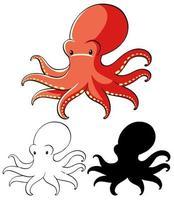uppsättning bläckfisk tecknad vektor