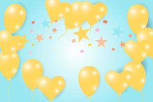 gul ballong och stjärnor firande kort