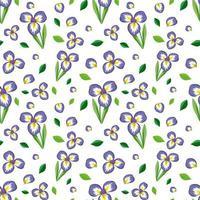 sömlösa mönster med söt lila blomma och blad vektor