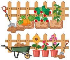 grönsaker och blommor som växer i trädgården vektor