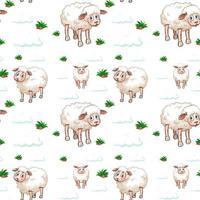 nahtloses Muster von Schafen und Wolken