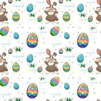 sömlösa mönster av påskägg och söt kanin