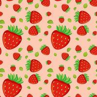 sömlösa mönster med jordgubbar vektor