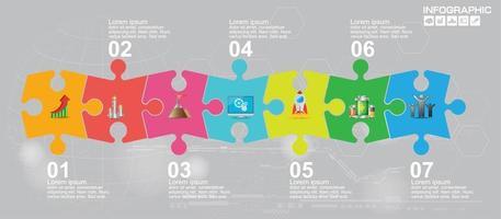 Infografik zur Puzzle-Business-Präsentation mit 7 Schritten vektor