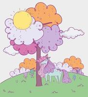 pastellfarbenes Einhorn im Freien