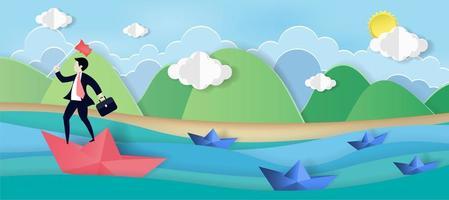 Geschäftsmann, der auf Papierboot im Meer steht vektor