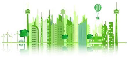 ekologi grön stad koncept vektor