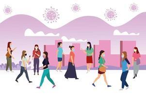 grupp kvinnor som bär medicinska masker på staden