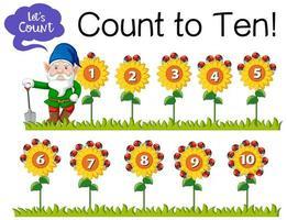 Zählen Sie die Nummer eins bis zehn mit Gnom und Sonnenblume vektor