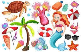 Satz Sommerstrandikonen und Meerjungfrau-Zeichentrickfiguren