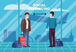 soziale Distanzierung im Flughafenplakatdesign