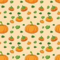 nahtloses Kürbismuster auf orange Hintergrund vektor