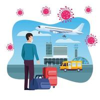 männlicher Reisender, der Gesichtsmaske im Flughafen verwendet vektor