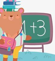 söt björn med böcker på huvudet vektor