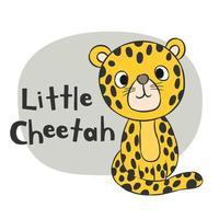 liten cheetah hand dras vektor