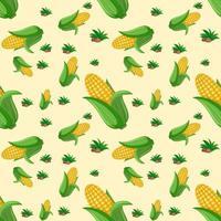 sömlösa mönster med majs på gul bakgrund vektor
