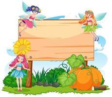 Märchen im Garten mit leerem Banner-Cartoon-Stil vektor