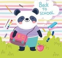 zurück in die Schule niedlicher Panda mit Tasche Apfeluhr Farbe Bildung vektor