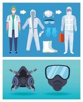 läkare och biosäkerhetsarbetare med covid-19 skyddsutrustning