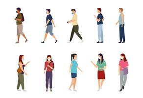uppsättning av människor som bär medicinsk ansiktsmask vektor
